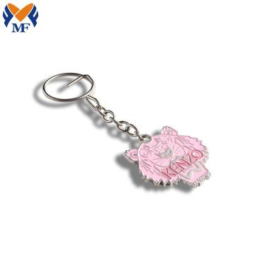 时尚粉色烤漆狮子头金属钥匙扣定制
